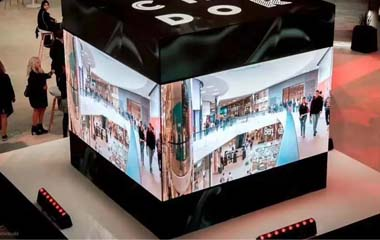 Indoor PH2mm HD curved LED display fixed in shopping mall